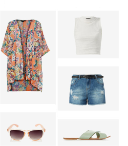 Long line kimono for the summer festivals with shorts and crop top. Summer 2014