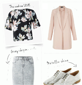 Use your spring basics...Style up with trendy silver brogues and pastel cover