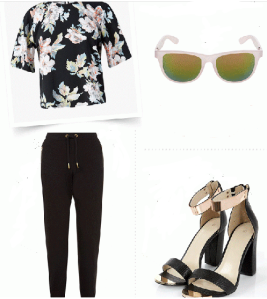 Elegance in basic black pants and strappy heels and have a fab night out