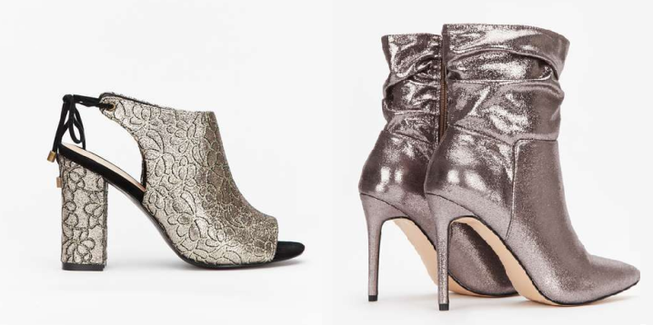 occassion high heeled silver ankle boots