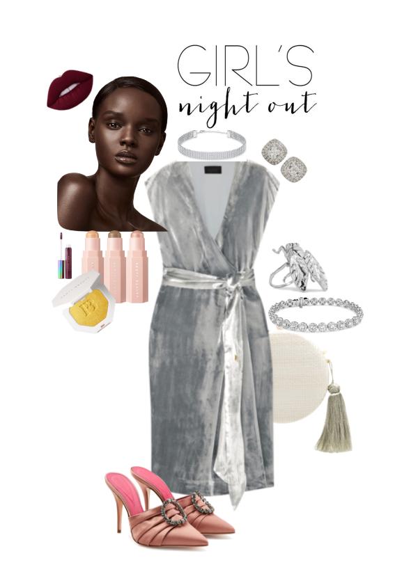 Silver Velvet Dress night look