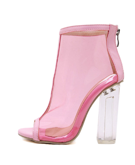 pink clear peep toe